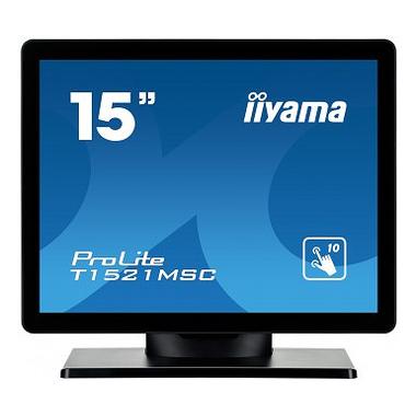 """iiyama ProLite T1521MSC-B1 moniteur à écran tactile 38,1 cm (15"""") 1024 x 768 pixels Noir Plusieurs pressions Dessus de table"""