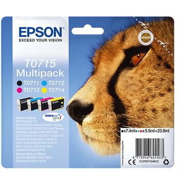 "Epson Multipack ""Guépard"" (T0715) - Encres DURABrite Ultra N, C, M, J"