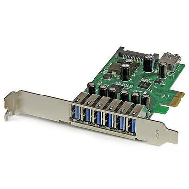 StarTech.com Carte contrôleur PCI Express à 7 ports USB 3.0 - 6 externes 1 interne - Adaptateur PCIe avec alimentation SATA